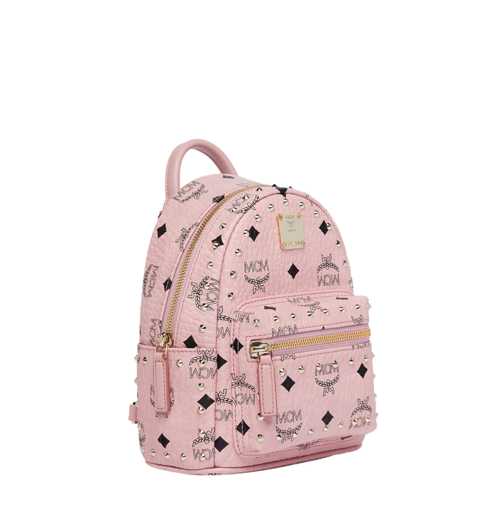 MCM Stark Bebe Boo Backpack in Studded Outline Visetos Pink MMK8AVE04PZ001 Alternate View 2