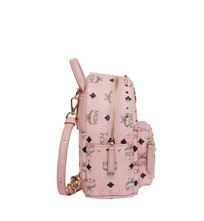 MCM Stark Bebe Boo Backpack in Studded Outline Visetos Pink MMK8AVE04PZ001 Alternate View 3