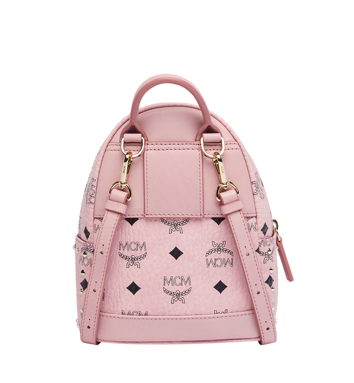 MCM Stark Bebe Boo Backpack in Studded Outline Visetos Pink MMK8AVE04PZ001 Alternate View 5