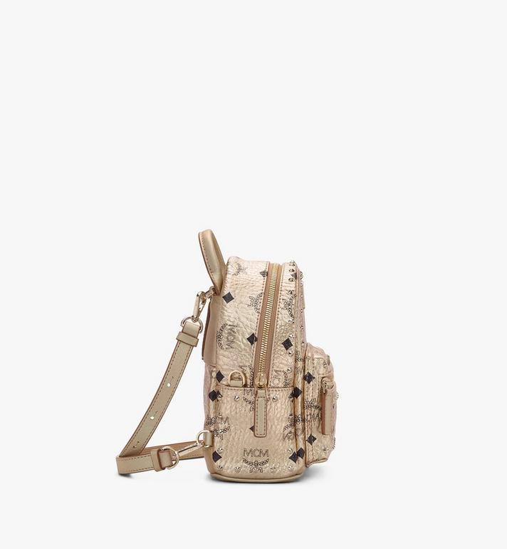 MCM Stark Bebe Boo Backpack in Studded Visetos Gold MMK8AVE05T1001 Alternate View 2