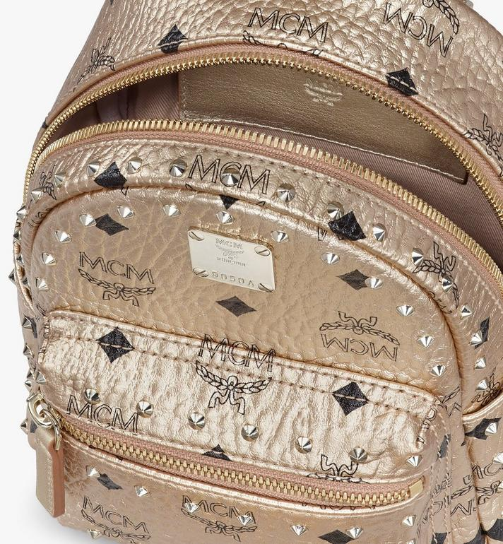MCM Stark Bebe Boo Backpack in Studded Visetos Gold MMK8AVE05T1001 Alternate View 4