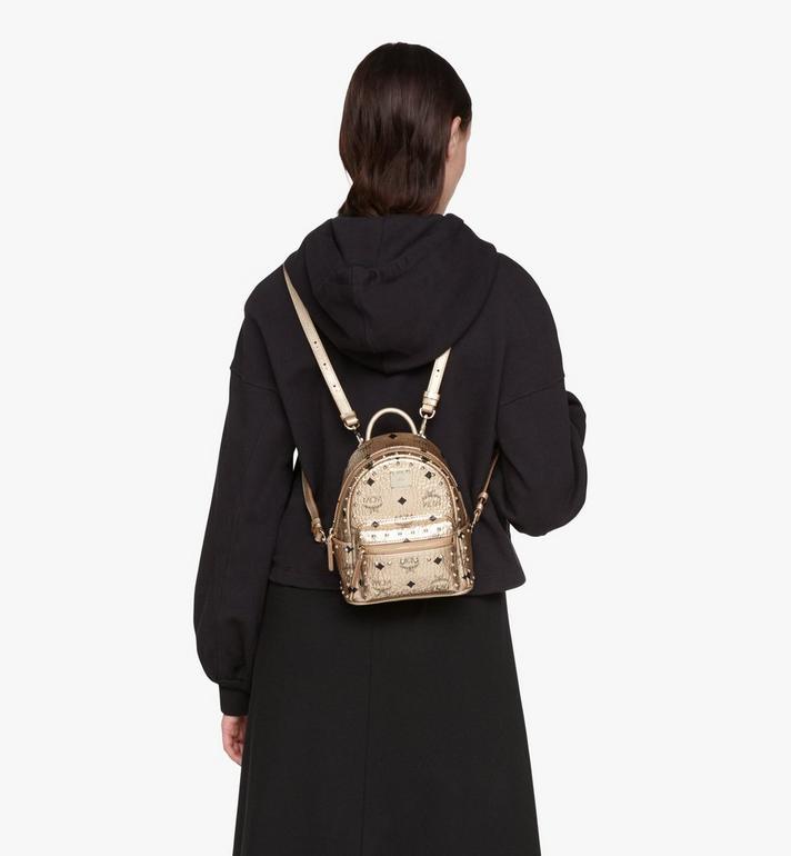 MCM Stark Bebe Boo Backpack in Studded Visetos Gold MMK8AVE05T1001 Alternate View 5