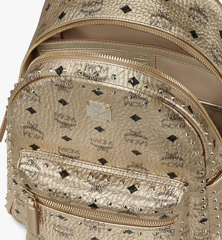 MCM Visetos 皮革的 Stark 鉚釘後背包 Gold MMK8AVE40T1001 Alternate View 4