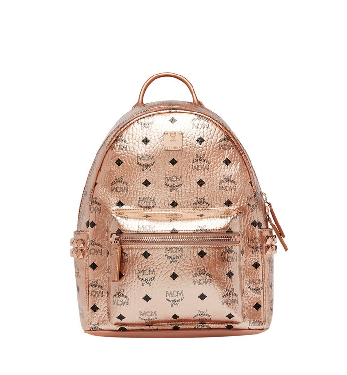 X-Mini Stark Side Stud Coated Canvas Backpack - Metallic in Champagne Gold