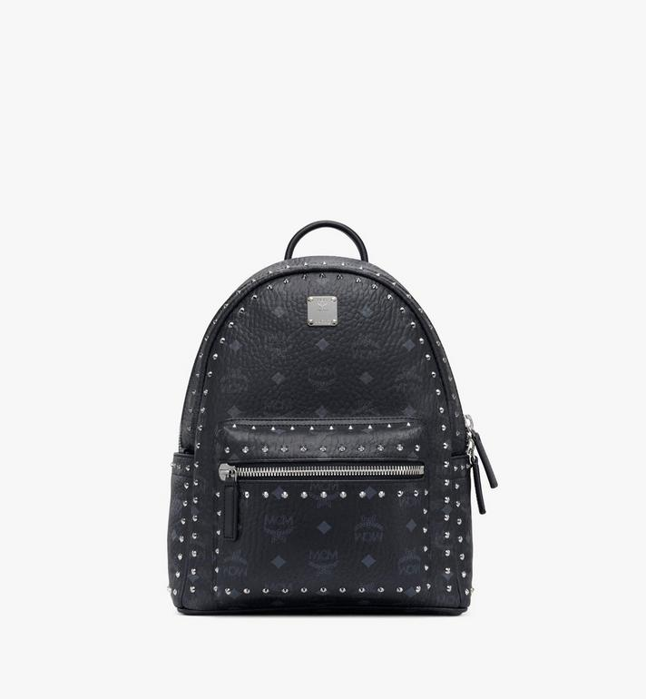 MCM Stark Visetos 帶鉚釘輪廓雙肩背包 Black MMK8AVE61BK001 Alternate View 1