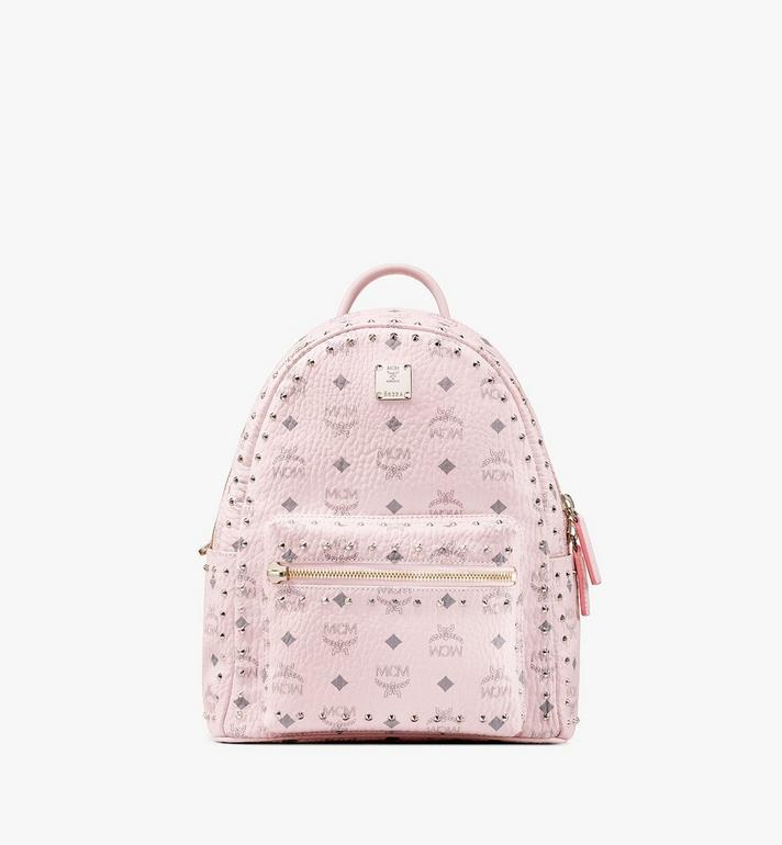 MCM Visetos 皮革的 Stark 鉚釘後背包 Pink MMK8AVE61QH001 Alternate View 1