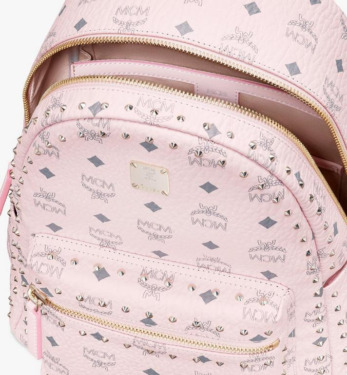 MCM Stark Backpack in Studded Visetos Pink MMK8AVE61QH001 Alternate View 4