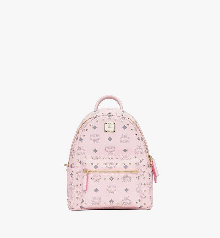 MCM Visetos 皮革的 Stark 鉚釘後背包 Pink MMK8AVE62QH001 Alternate View 1