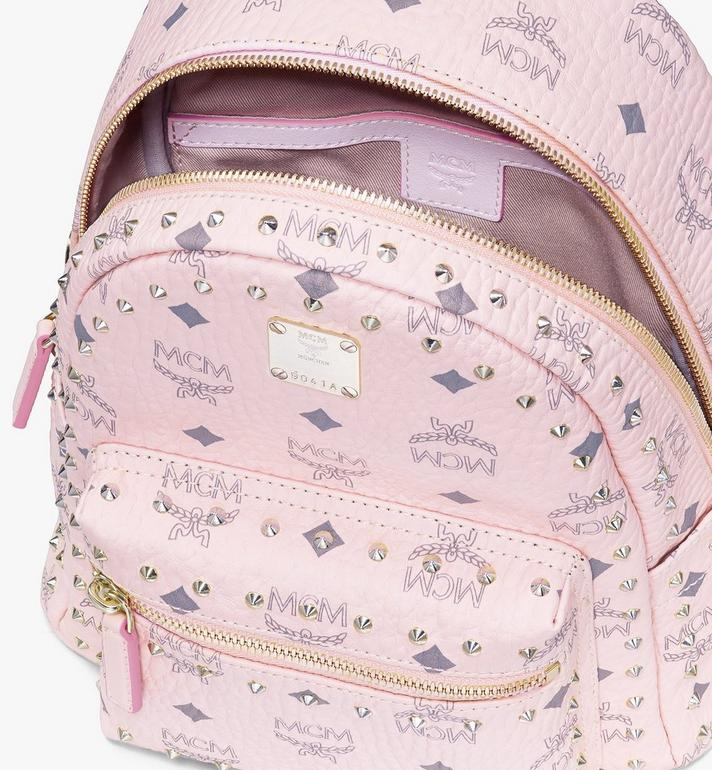 MCM Visetos 皮革的 Stark 鉚釘後背包 Pink MMK8AVE62QH001 Alternate View 4