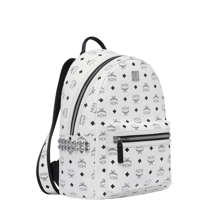 MCM Stark Side Studs Backpack in Visetos White MMK8AVE99WT001 Alternate View 2