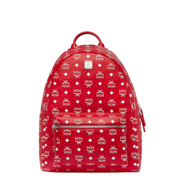 MCM Stark White Logo Backpack in Visetos Alternate View