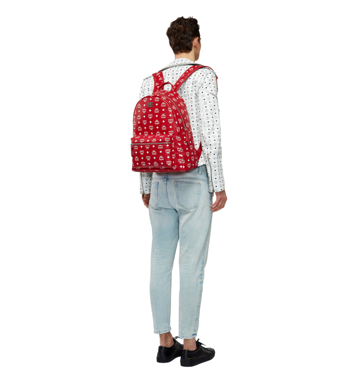 MCM Stark White Logo Backpack in Visetos Alternate View 6