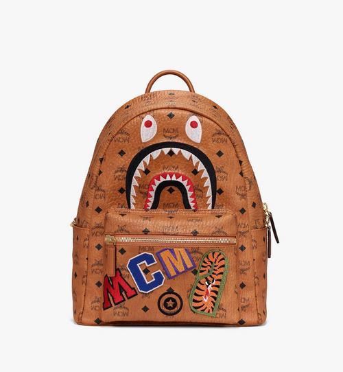 MCM x BAPE Shark Stark Backpack in Visetos