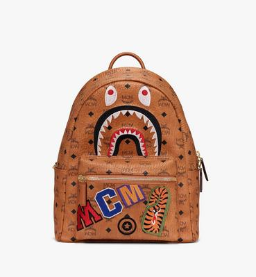 MCM x BAPE Shark Stark Backpack in Visetos