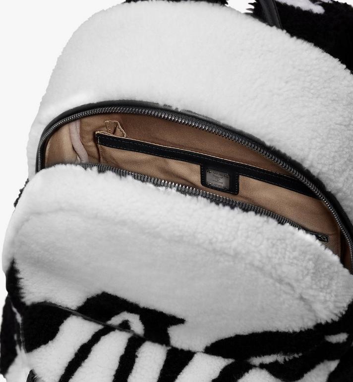 MCM Stark Rucksack aus Lammfell mit Logo in kontrastierenden Farben  MMK9AVE17WD001 Alternate View 4