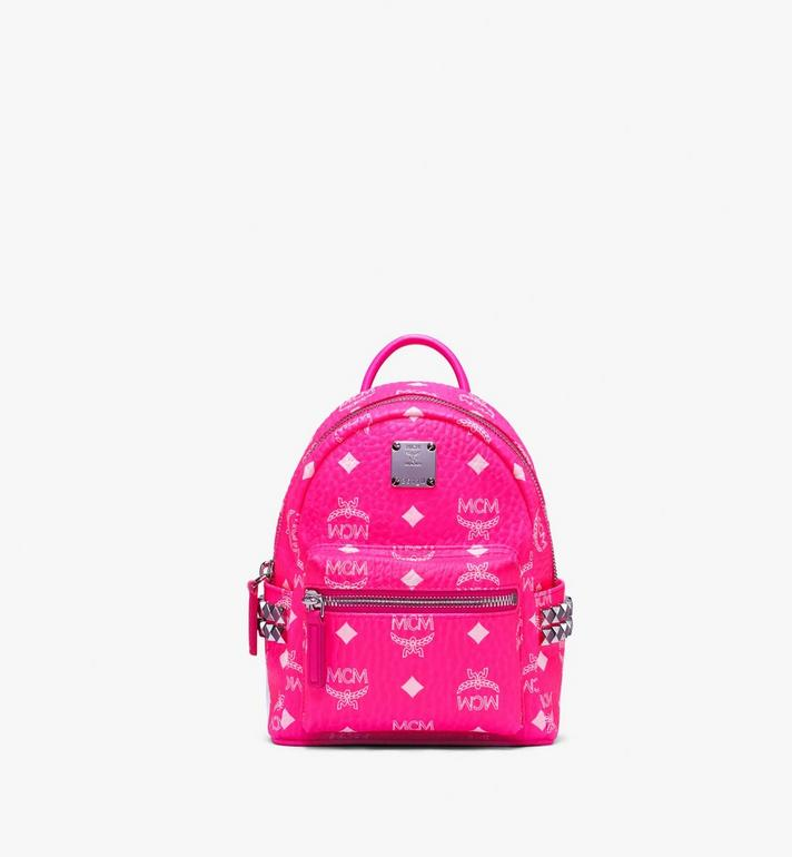 MCM Stark Backpack in Neon Visetos Pink MMK9AVE66QP001 Alternate View 1