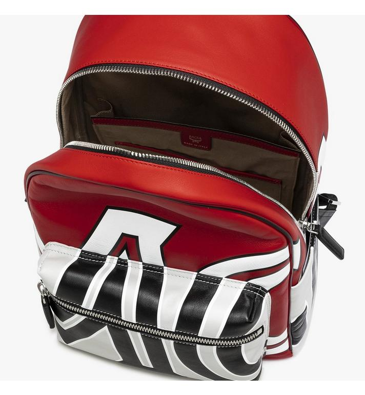 MCM Stark Backpack in Contrast Logo Leather Red MMK9SVE12RU001 Alternate View 4