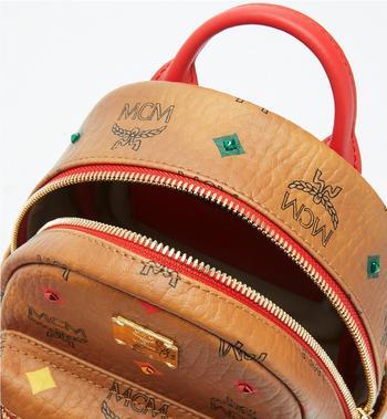 MCM Stark Bebe Boo Backpack in Skyoptic Stud Visetos Cognac MMK9SVE36CA001 Alternate View 4
