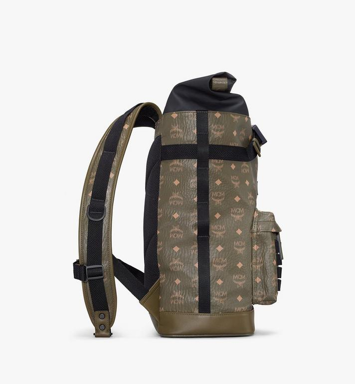 MCM Roll-Top Backpack in Visetos Green MMKAAMV01JH001 Alternate View 2