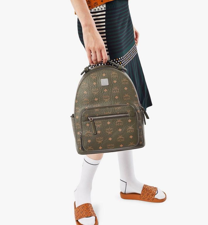 MCM Stark Backpack in Visetos Green MMKAAVE08JH001 Alternate View 8