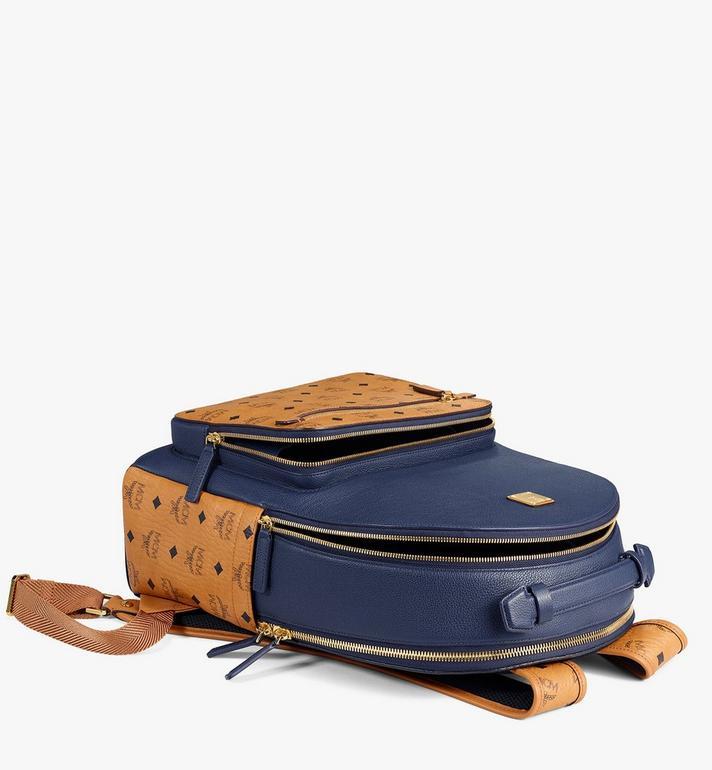 MCM Stark Backpack in Visetos Leather Block Blue MMKAAVE22VU001 Alternate View 3