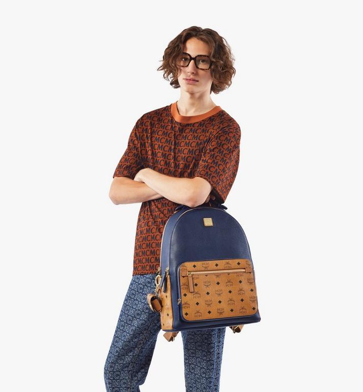 MCM Stark Backpack in Visetos Leather Block Blue MMKAAVE22VU001 Alternate View 7
