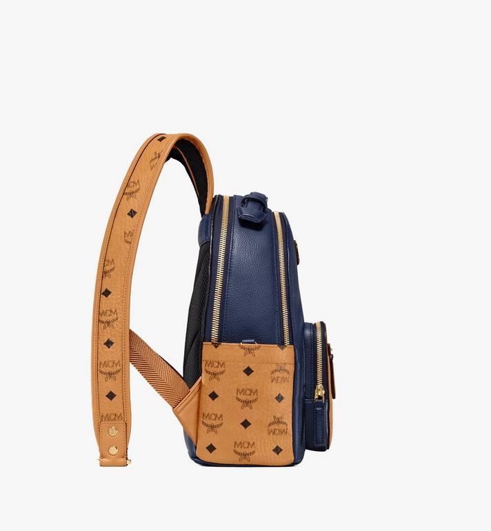 MCM Stark Backpack in Visetos Leather Block Blue MMKAAVE23VU001 Alternate View 2