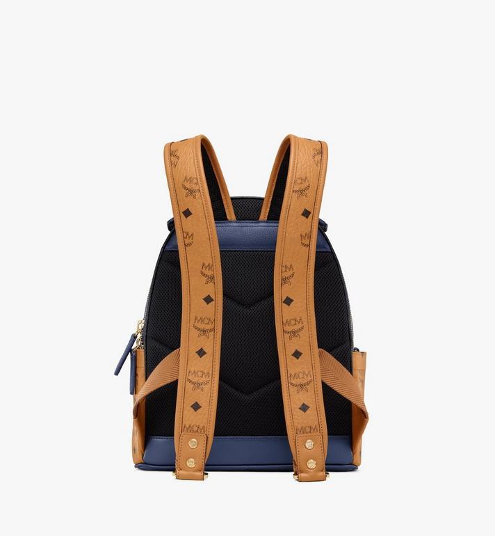 MCM Stark Backpack in Visetos Leather Block Blue MMKAAVE23VU001 Alternate View 4
