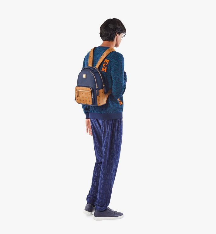 MCM Stark Backpack in Visetos Leather Block Blue MMKAAVE23VU001 Alternate View 7