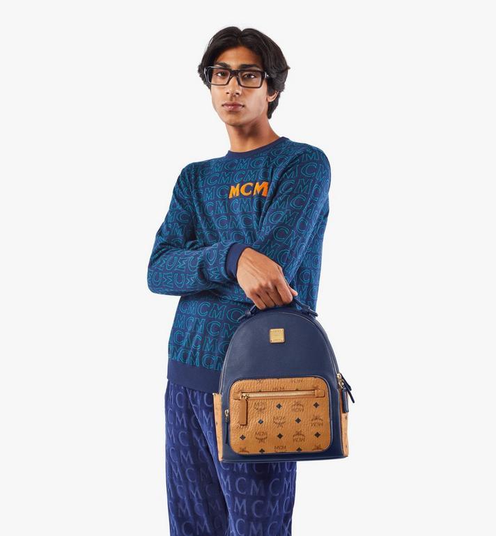 MCM Stark Backpack in Visetos Leather Block Blue MMKAAVE23VU001 Alternate View 8