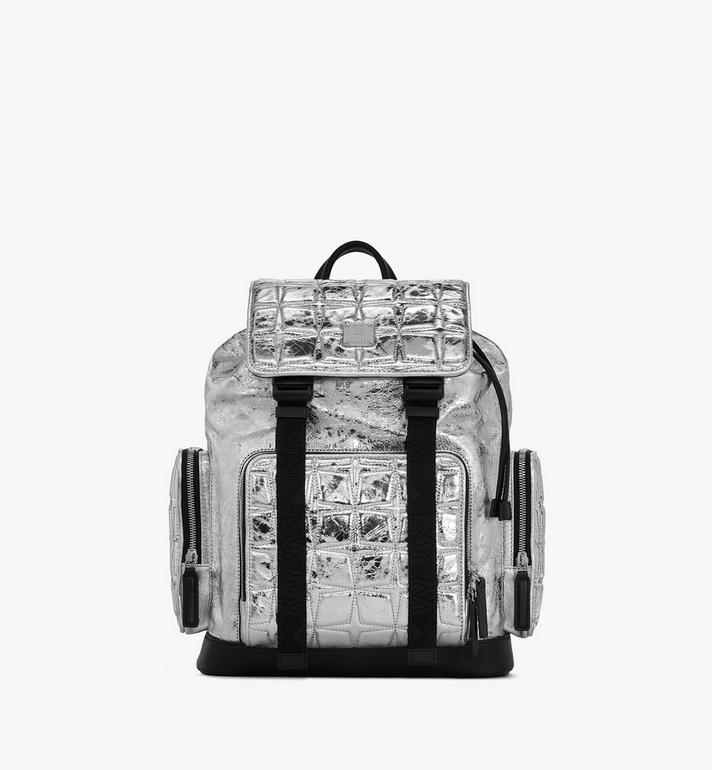 MCM Brandenburg Backpack in Quilted Diamond Leather Silver MMKASBG01SA001 Alternate View 1