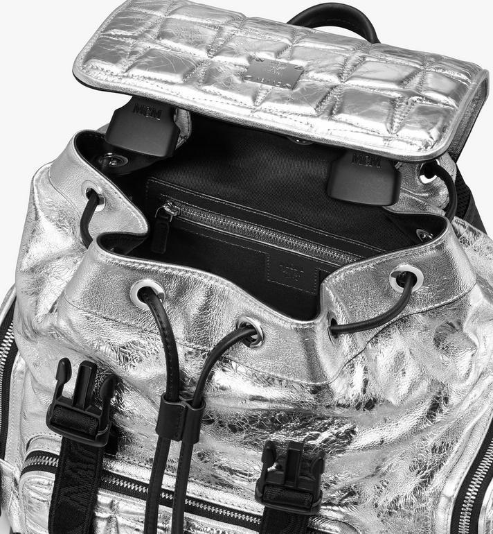 MCM Sac à dos Brandenburg en cuir matelassé à motif diamant Silver MMKASBG01SA001 Alternate View 4