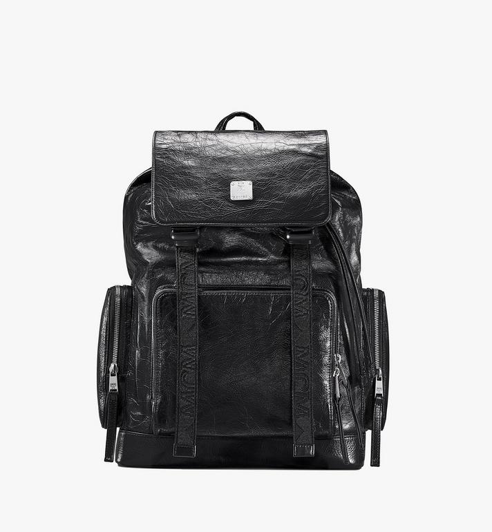 MCM Brandenburg Backpack in Crushed Leather Black MMKASBG02BK001 Alternate View 1