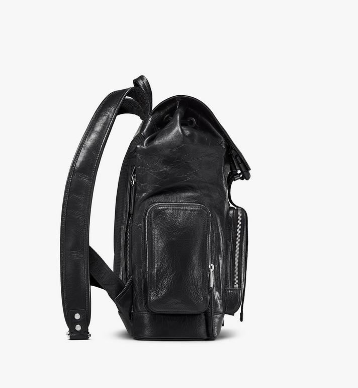 MCM Brandenburg Backpack in Crushed Leather Black MMKASBG02BK001 Alternate View 2