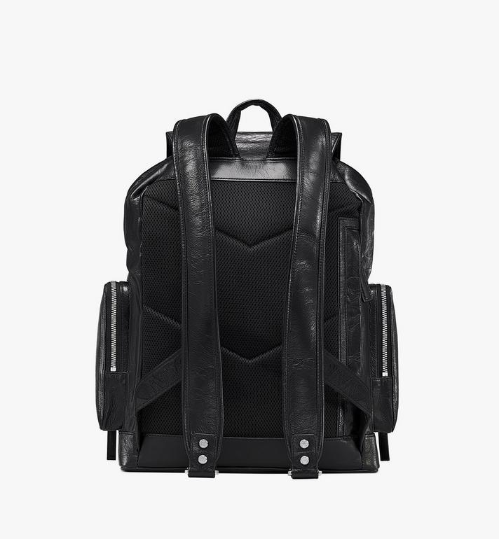 MCM Brandenburg Backpack in Crushed Leather Black MMKASBG02BK001 Alternate View 3
