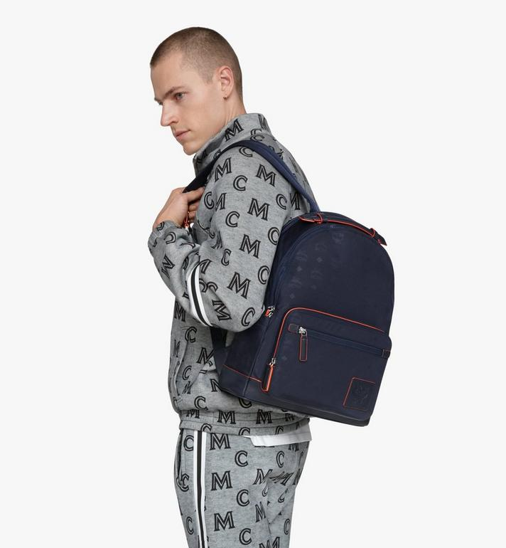 MCM Stark Backpack in Monogram Nylon Navy MMKASVE24VA001 Alternate View 7