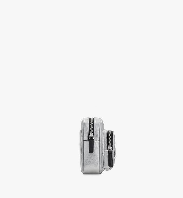 MCM Klassik 菱格紋絎縫皮革斜揹包 Silver MMRASKC12SA001 Alternate View 2