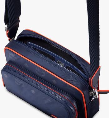 MCM Klassik Crossbody-Tasche aus Nylon mit Monogramm Blue MMRASKC15VA001 Alternate View 4