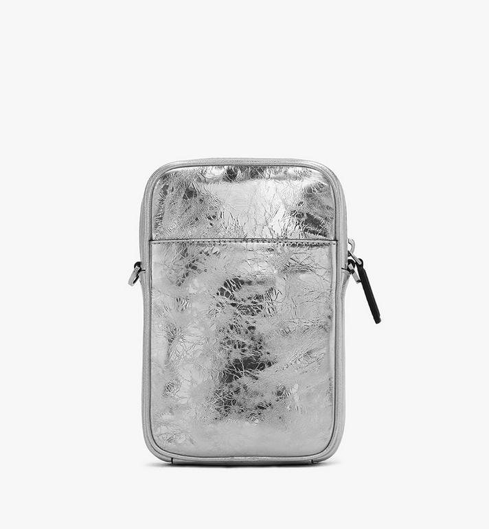 MCM Klassik Tech Crossbody-Tasche aus Metallic-Knautschleder Silver MMRASKC17SA001 Alternate View 3