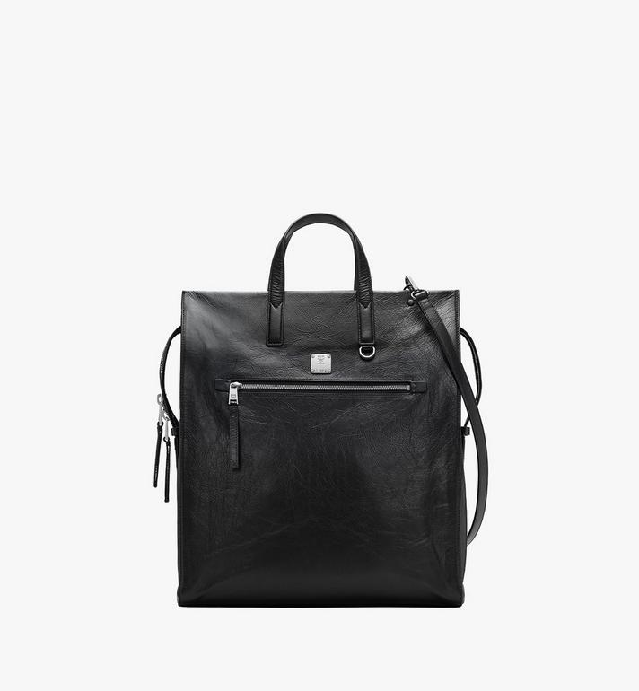 MCM Klassik Tote in Crushed Leather Black MMTASKC01BK001 Alternate View 1