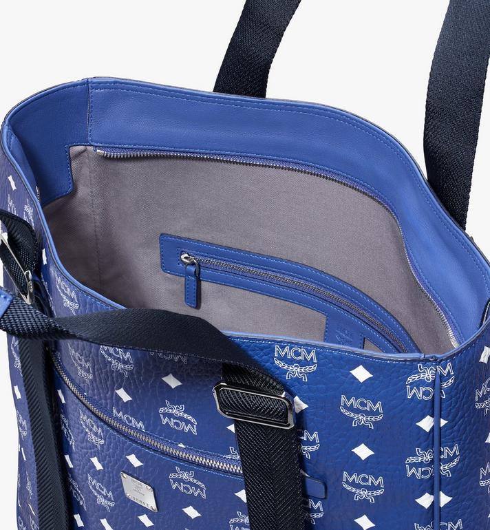 MCM Klassik Tote in Visetos Blue MMTASKC03H1001 Alternate View 4