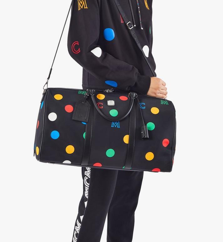 MCM Traveler Weekender Bag in Polka Dot Nylon Black MMVAAVY05BK001 Alternate View 8