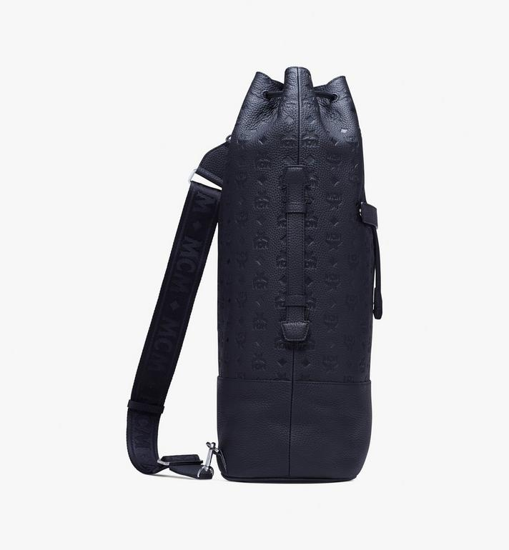 MCM Trivitat Drawstring Backpack in Monogram Leather Black MUK9ABT01BK001 Alternate View 2