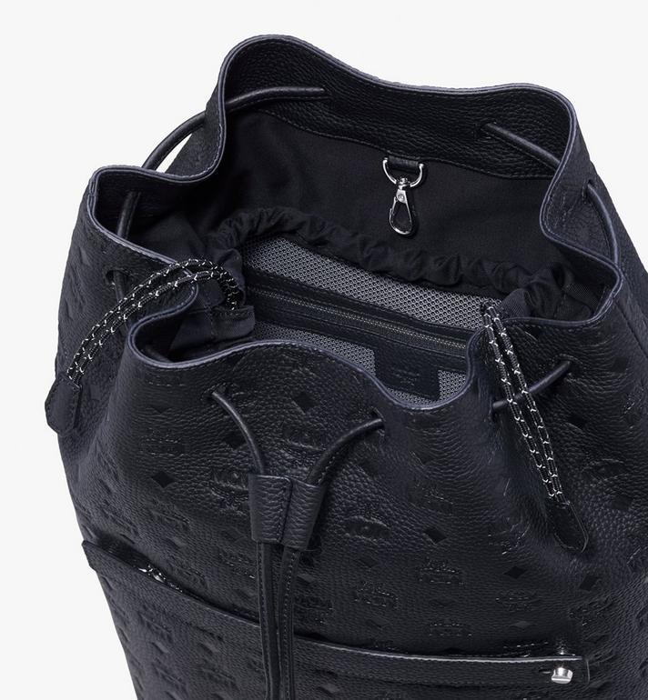 MCM Trivitat Drawstring Backpack in Monogram Leather Black MUK9ABT01BK001 Alternate View 4