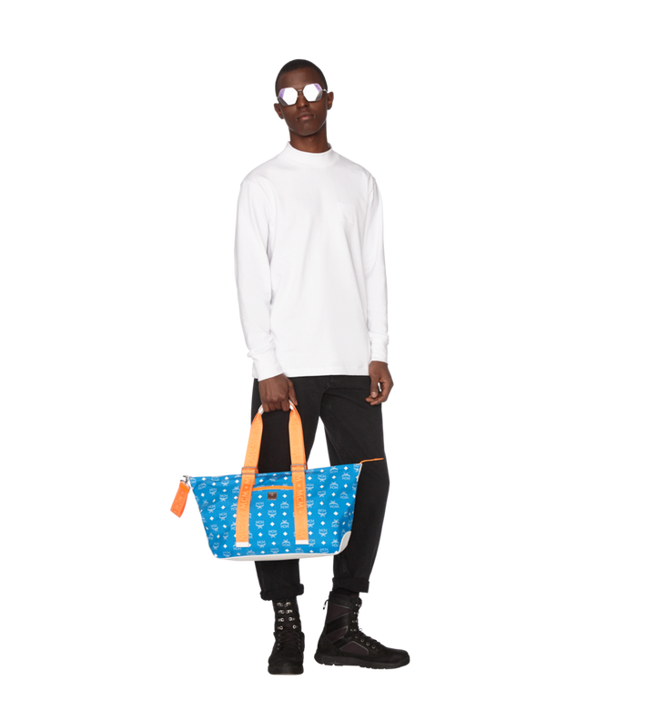 MCM Resnick Shoulder Bag in White Logo Nylon Alternate View 6
