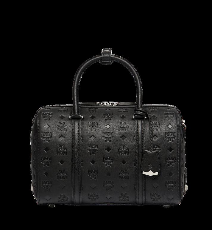 Signature Monogram Embossed Leather Crossbody Bag - Black in Bk