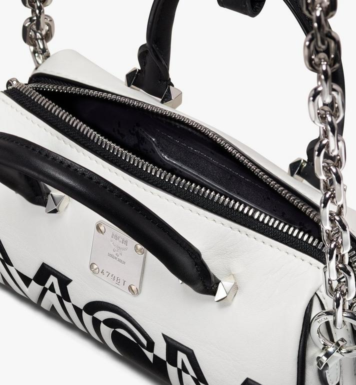 MCM Boston Bag in Contrast Logo Leather White MWB9ACL13WT001 Alternate View 4