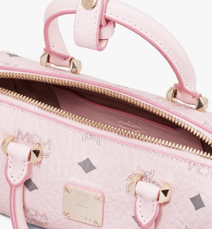 MCM Essential Boston Bag in Visetos Original Pink MWB9ASE25QH001 Alternate View 4