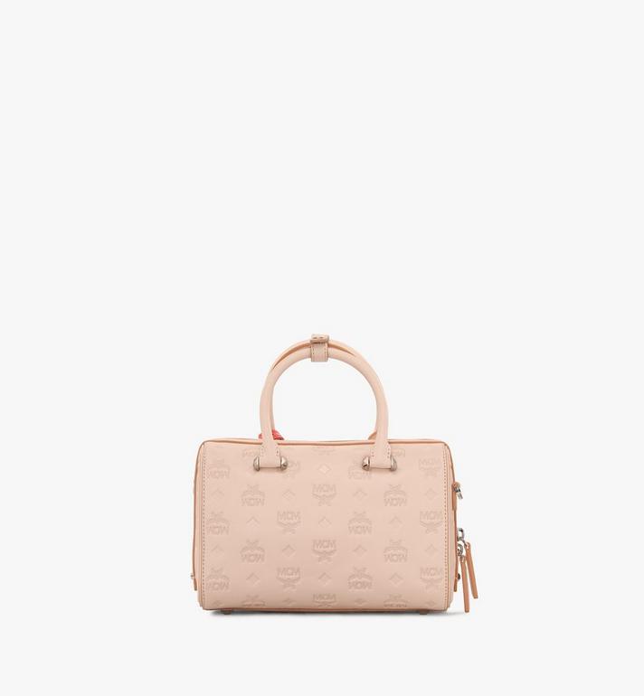 MCM Essential Boston Bag in Monogram Leather Beige MWB9SSE52II001 Alternate View 3