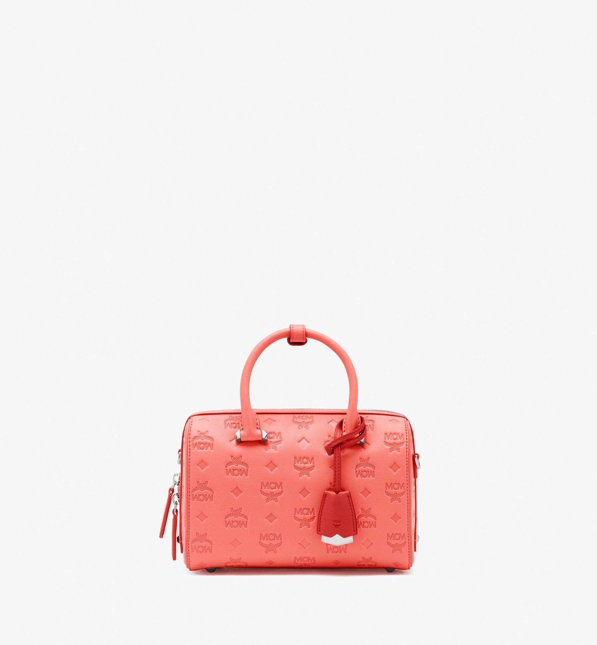 MCM Essential Boston Bag in Monogram Leather Pink MWB9SSE52O3001 Alternate View 1